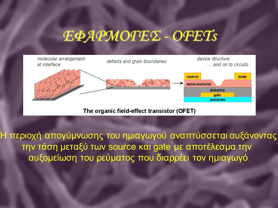 ΕΦΑΡΜΟΓΕΣ - OFETs Η περιοχή απογύμνωσης του ημιαγωγού αναπτύσσεται αυξάνοντας. την τάση μεταξύ των source και gate με αποτέλεσμα την.
