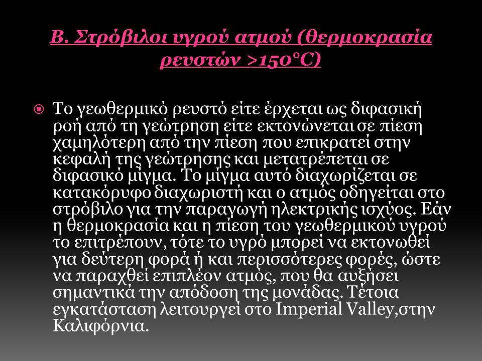 Β. Στρόβιλοι υγρού ατμού (θερμοκρασία ρευστών >150°C)