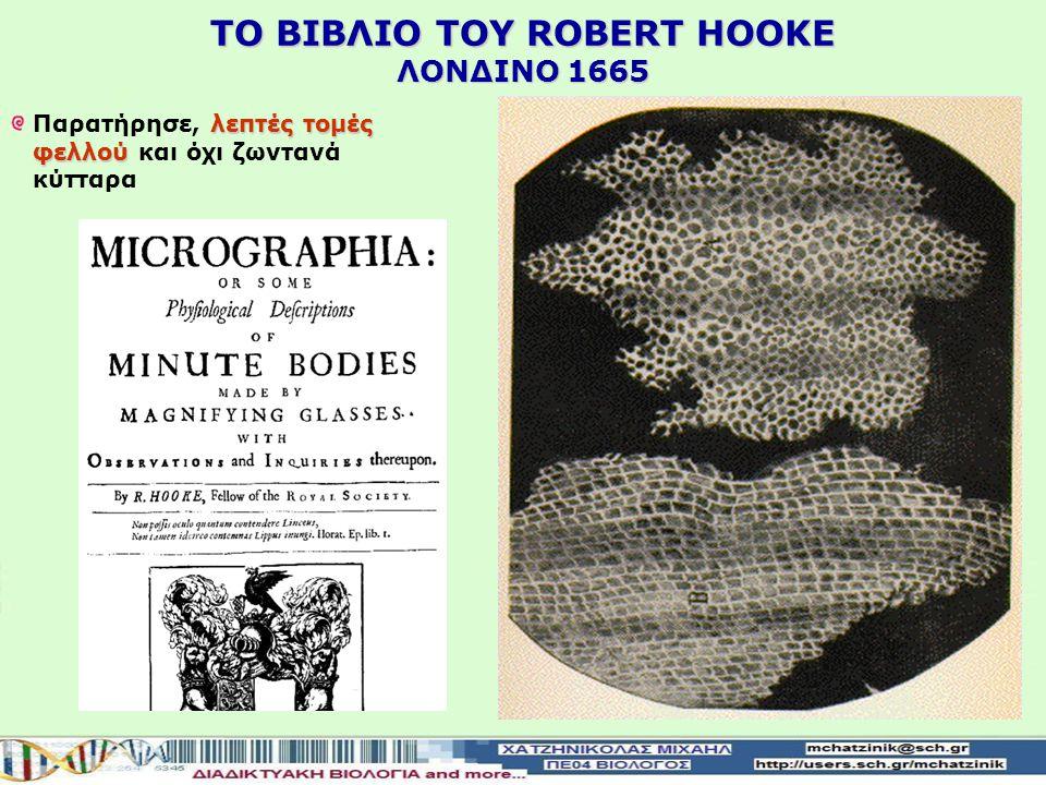 ΤO ΒΙΒΛΙΟ TOY ROBERT HOOKE ΛΟΝΔΙΝΟ 1665