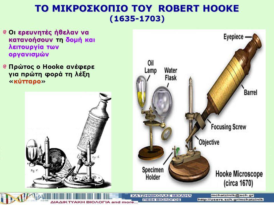 ΤΟ ΜΙΚΡΟΣΚΟΠΙΟ ΤΟΥ RΟBERT HOOKE (1635-1703)