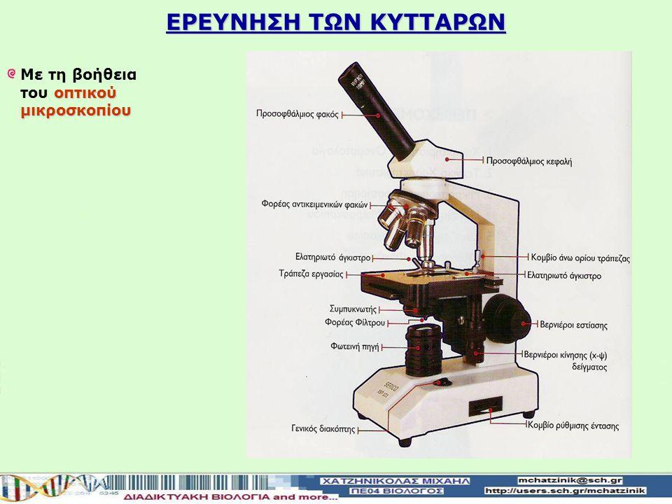 ΕΡΕΥΝΗΣΗ ΤΩΝ ΚΥΤΤΑΡΩΝ Με τη βοήθεια του οπτικού μικροσκοπίου