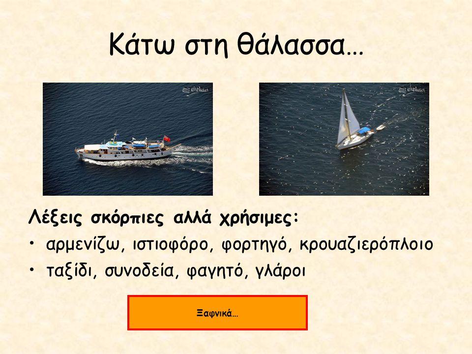 Κάτω στη θάλασσα… Λέξεις σκόρπιες αλλά χρήσιμες: