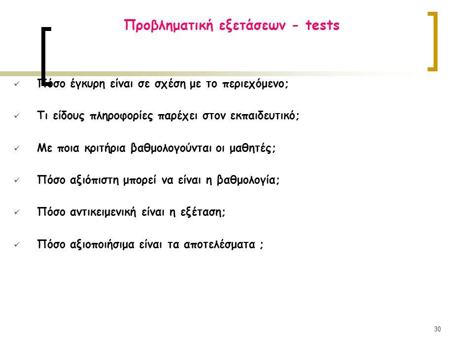 Προβληματική εξετάσεων - tests