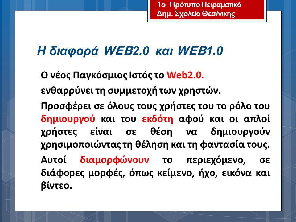 Η διαφορά WEB2.0 και WEB1.0 ενθαρρύνει τη συμμετοχή των χρηστών.