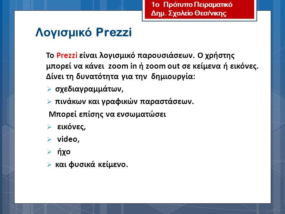 Λογισμικό Prezzi σχεδιαγραμμάτων, πινάκων και γραφικών παραστάσεων.
