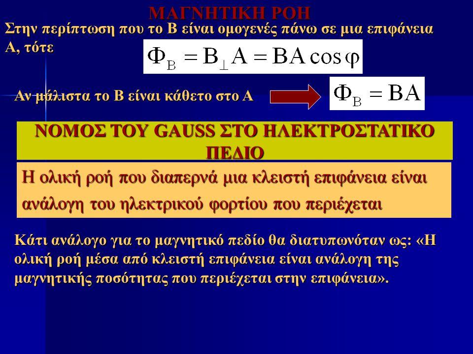 ΝΟΜΟΣ ΤΟΥ GAUSS ΣΤΟ ΗΛΕΚΤΡΟΣΤΑΤΙΚΟ ΠΕΔΙΟ