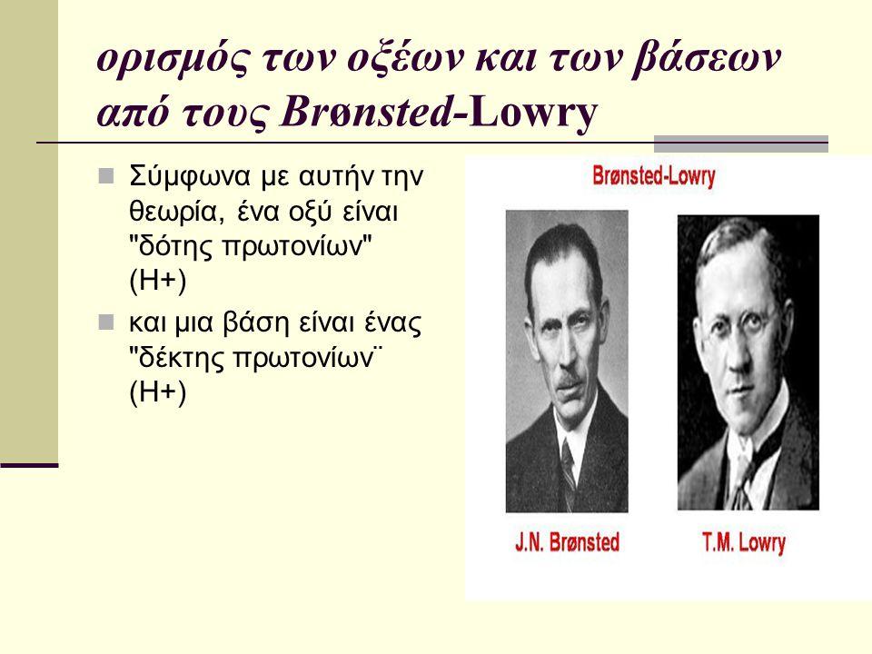 ορισμός των οξέων και των βάσεων από τους Brønsted-Lowry