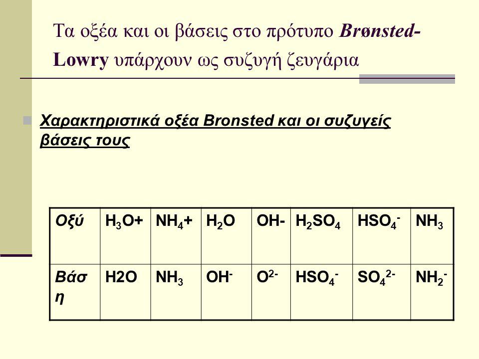 Τα οξέα και οι βάσεις στο πρότυπο Brønsted- Lowry υπάρχουν ως συζυγή ζευγάρια