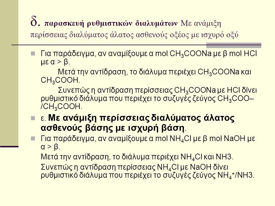 δ. παρασκευή ρυθμιστικών διαλυμάτων Με ανάμιξη περίσσειας διαλύματος άλατος ασθενούς οξέος με ισχυρό οξύ