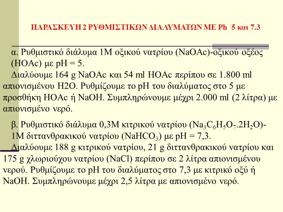 ΠΑΡΑΣΚΕΥΗ 2 ΡΥΘΜΙΣΤΙΚΩΝ ΔΙΑΛΥΜΑΤΩΝ ΜΕ Ph 5 και 7.3