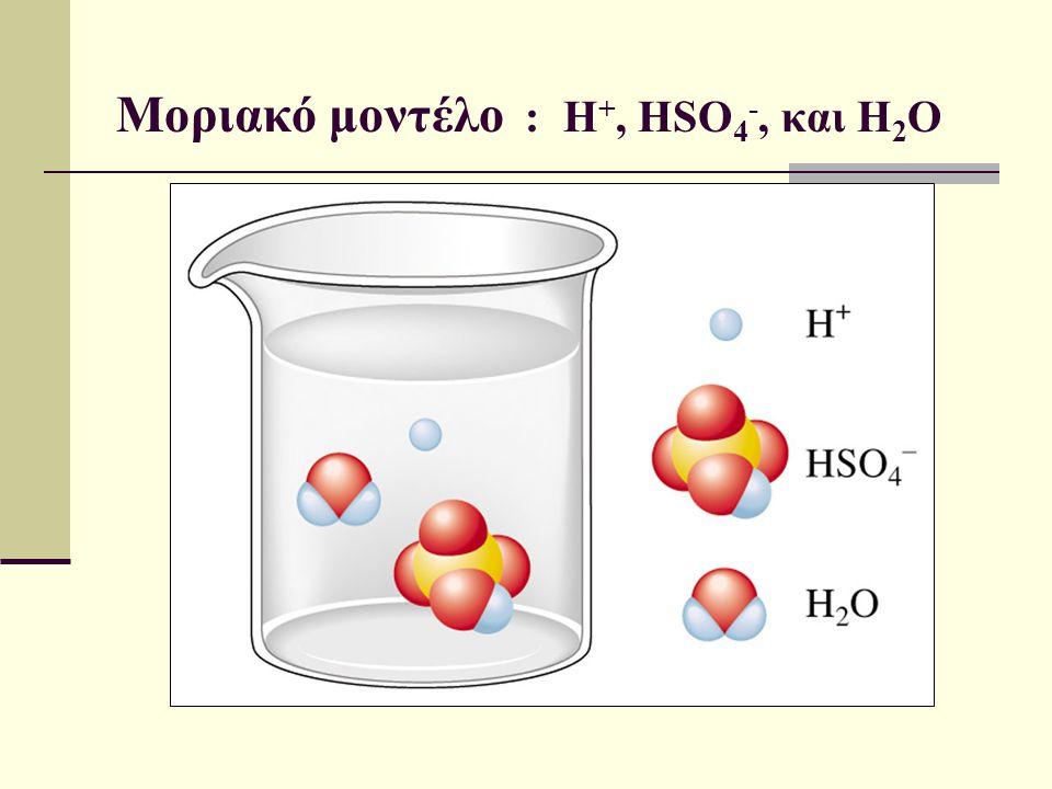Μοριακό μοντέλο : H+, HSO4-, και H2O