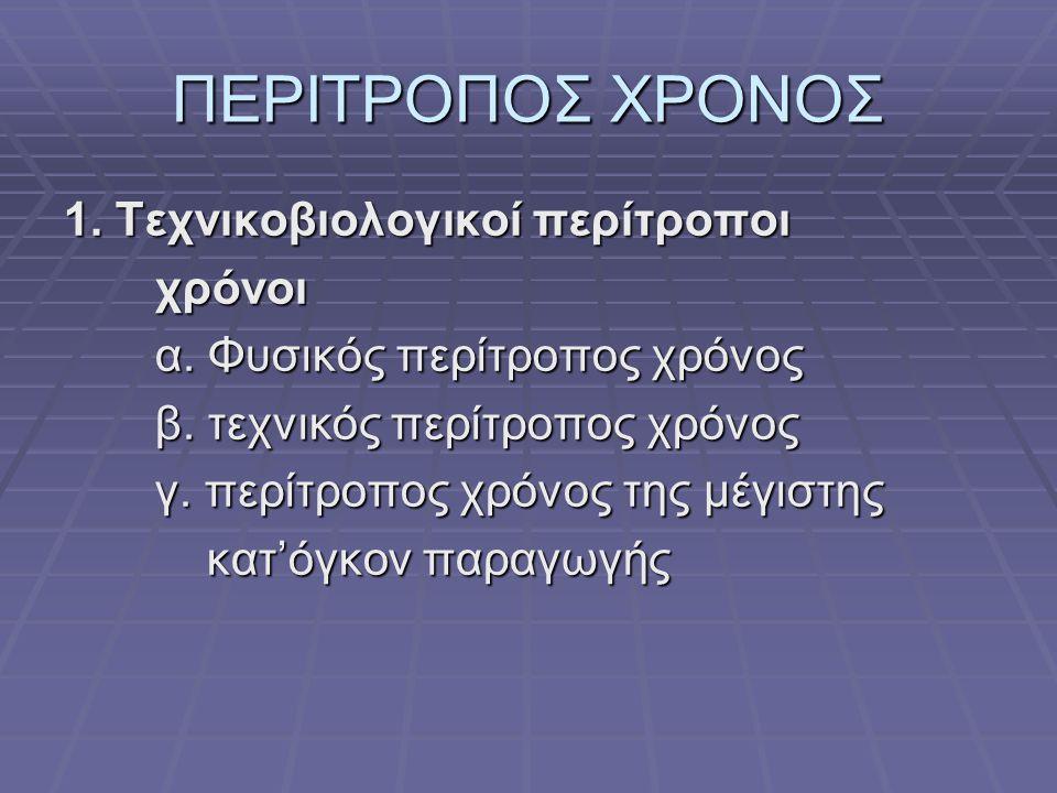 ΠΕΡΙΤΡΟΠΟΣ ΧΡΟΝΟΣ 1. Τεχνικοβιολογικοί περίτροποι χρόνοι