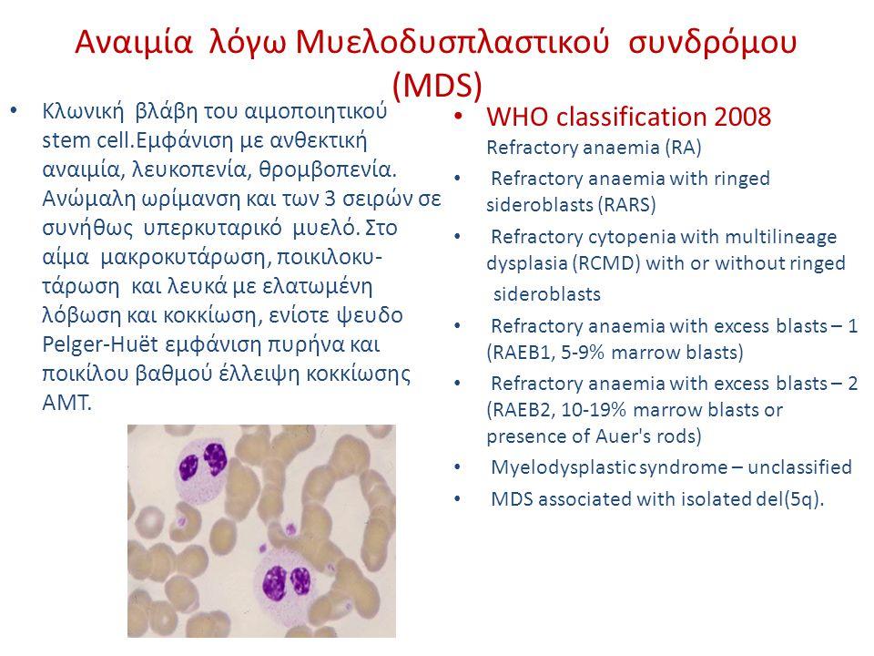 Αναιμία λόγω Μυελοδυσπλαστικού συνδρόμου (MDS)
