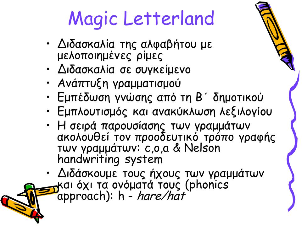Magic Letterland Διδασκαλία της αλφαβήτου με μελοποιημένες ρίμες