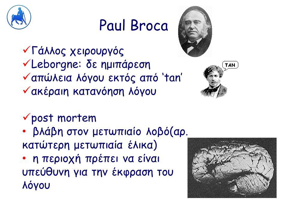 Paul Broca Γάλλος χειρουργός Leborgne: δε ημιπάρεση