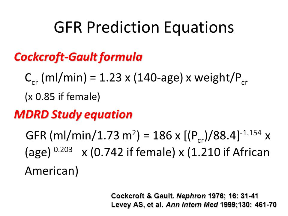 GFR Prediction Equations