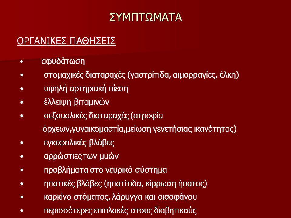 ΣΥΜΠΤΩΜΑΤΑ ΟΡΓΑΝΙΚΕΣ ΠΑΘΗΣΕΙΣ