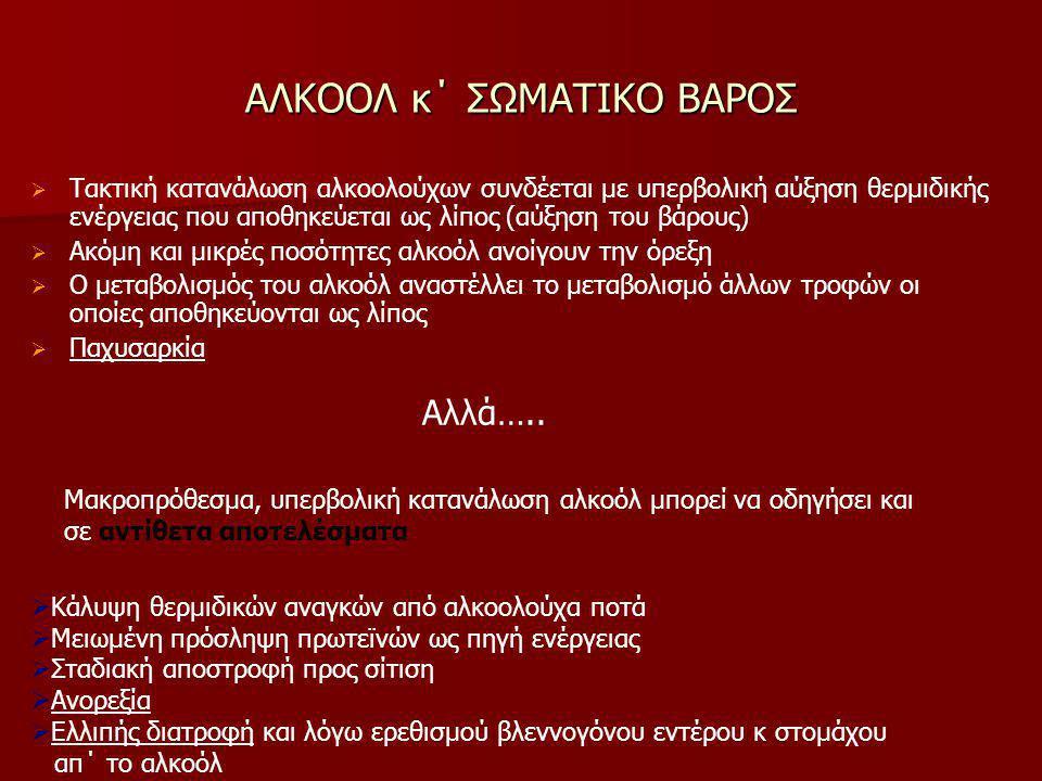 ΑΛΚΟΟΛ κ΄ ΣΩΜΑΤΙΚΟ ΒΑΡΟΣ