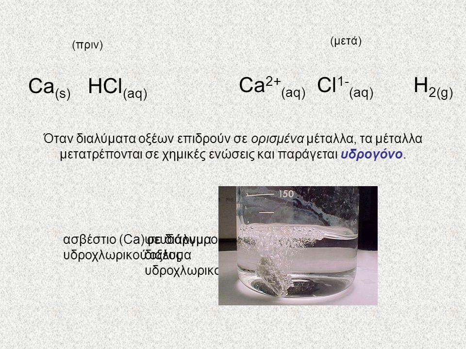 Ca2+(aq) Cl1-(aq) H2(g) Ca(s) HCl(aq)