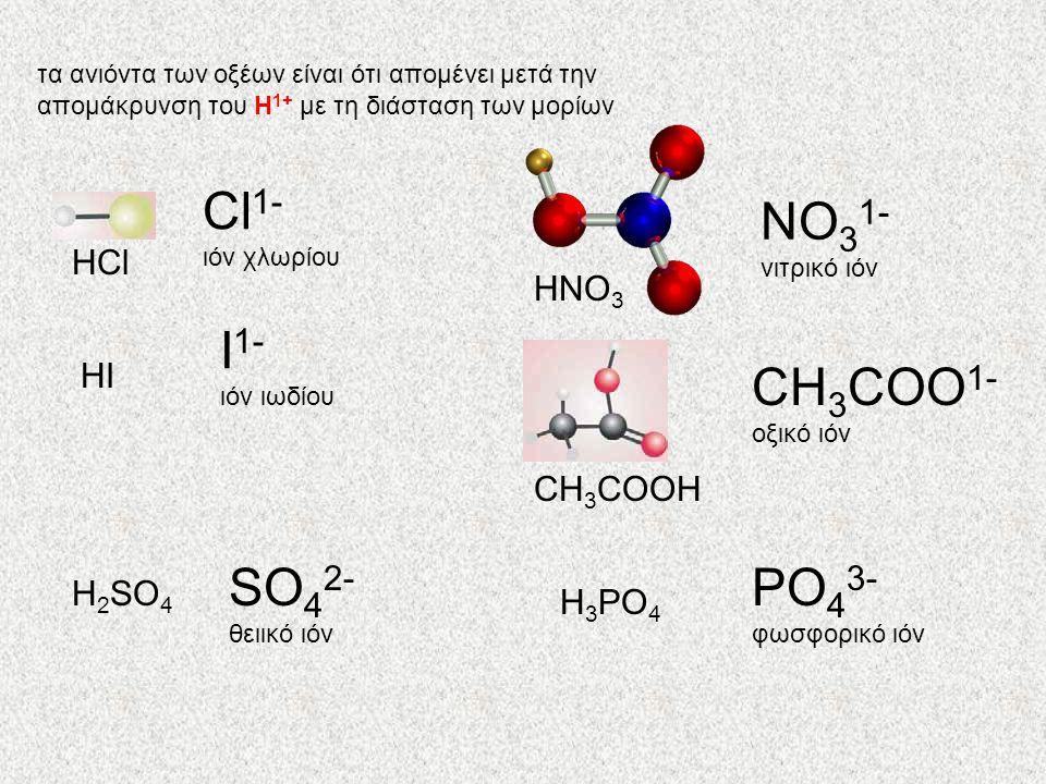 Cl1- ΝΟ31- Ι1- CH3COO1- SO42- PO43- HCl ΗΝΟ3 HΙ CH3COOH H2SO4 H3PO4