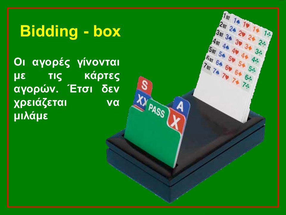 Bidding - box Οι αγορές γίνονται με τις κάρτες αγορών. Έτσι δεν χρειάζεται να μιλάμε