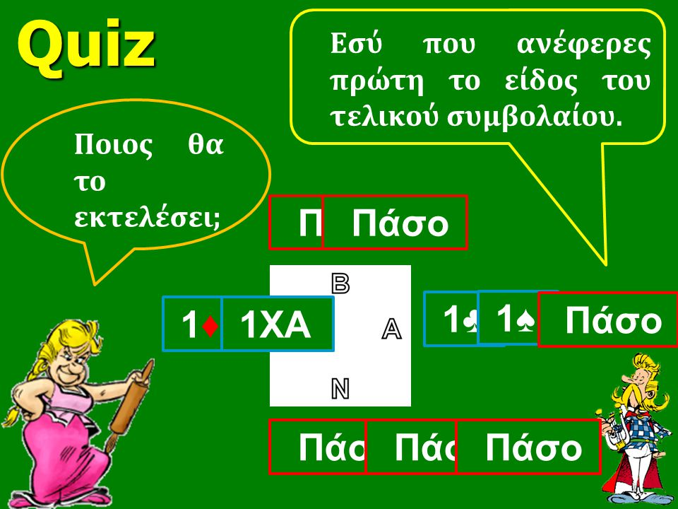 Quiz Πάσο Πάσο 1♣ 1♠ 1♦ 1ΧΑ Πάσο Πάσο Πάσο Πάσο