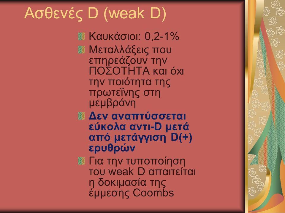 Ασθενές D (weak D) Καυκάσιοι: 0,2-1%