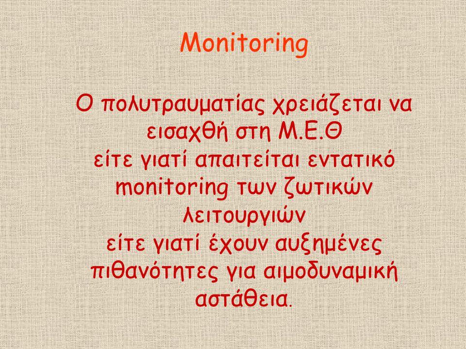 Monitoring O πολυτραυματίας χρειάζεται να εισαχθή στη Μ. Ε