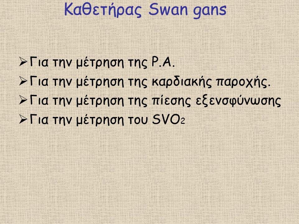 Καθετήρας Swan gans Για την μέτρηση της P.A.