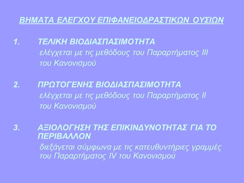 ΒΗΜΑΤΑ ΕΛΕΓΧΟΥ ΕΠΙΦΑΝΕΙΟΔΡΑΣΤΙΚΩΝ ΟΥΣΙΩΝ