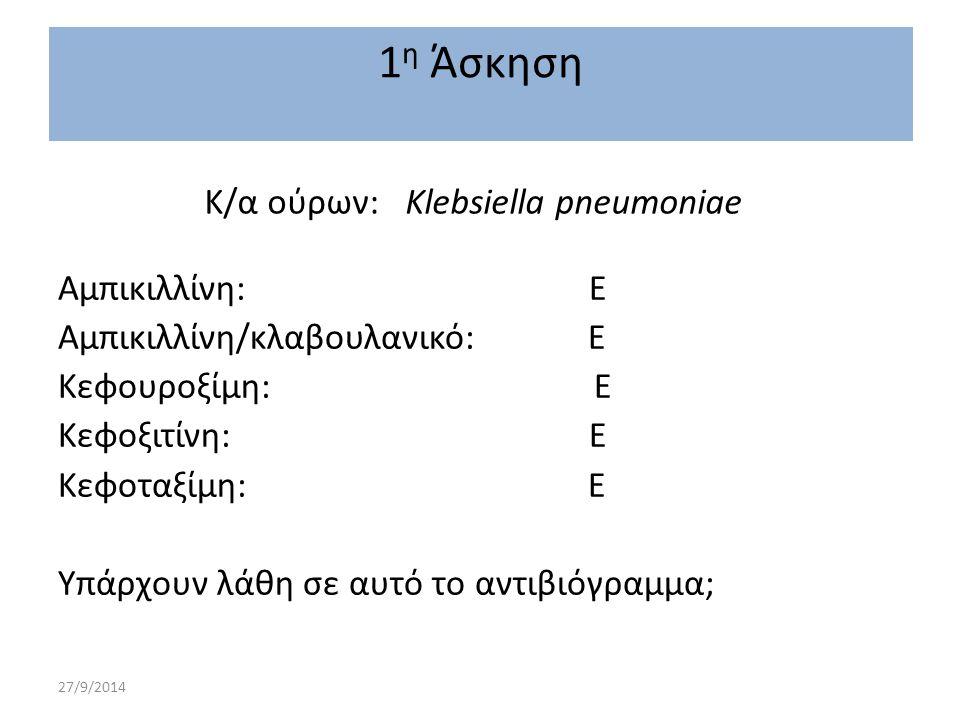 Κ/α ούρων: Klebsiella pneumoniae