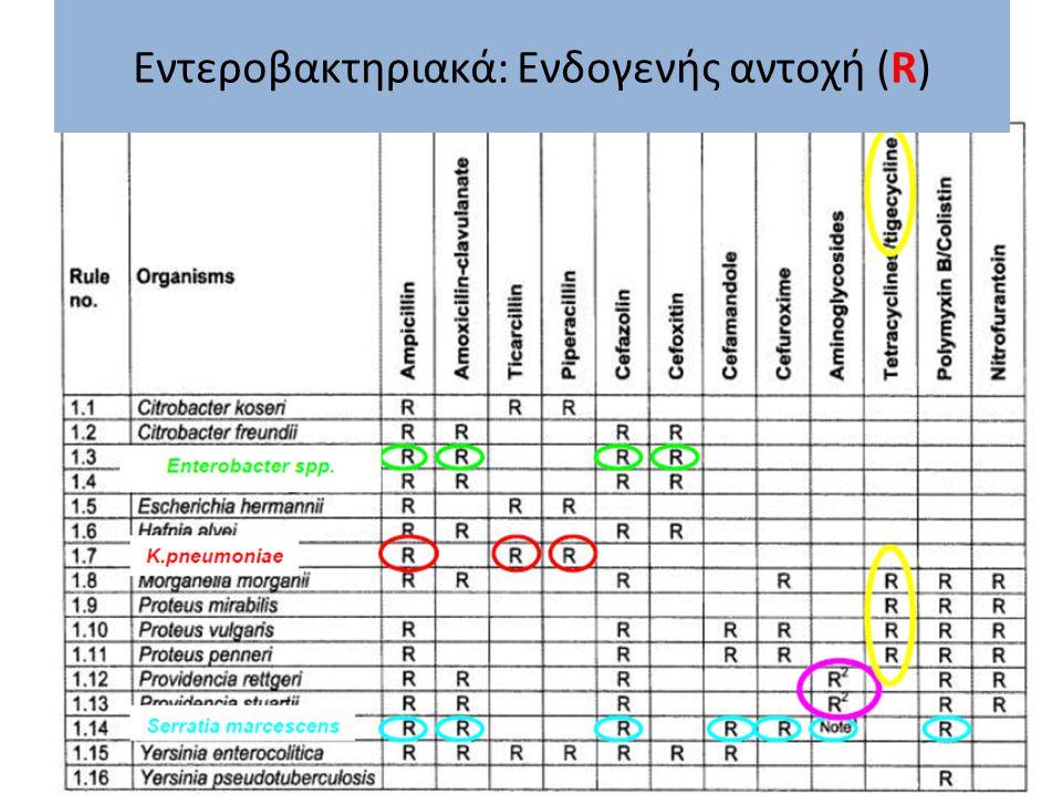 Εντεροβακτηριακά: Ενδογενής αντοχή (R)