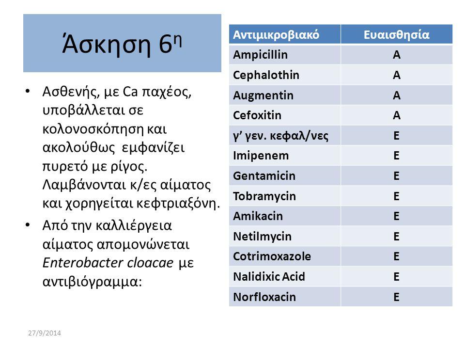 Άσκηση 6η Αντιμικροβιακό. Ευαισθησία. Αmpicillin. Α. Cephalothin. Augmentin. Cefoxitin. γ' γεν. κεφαλ/νες.