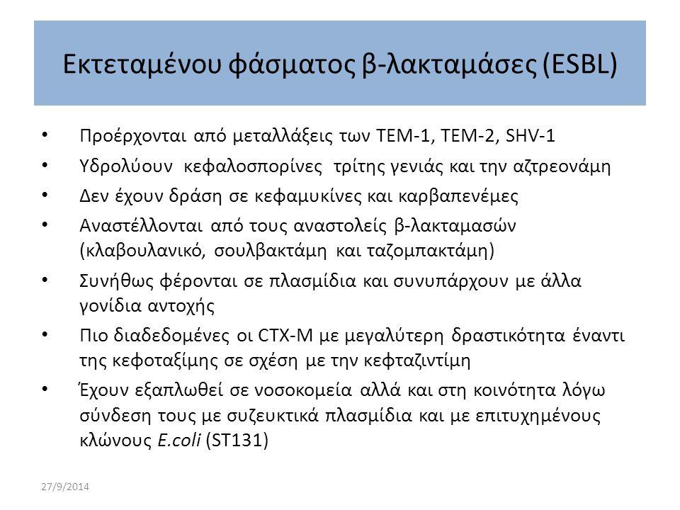 Εκτεταμένου φάσματος β-λακταμάσες (ESBL)