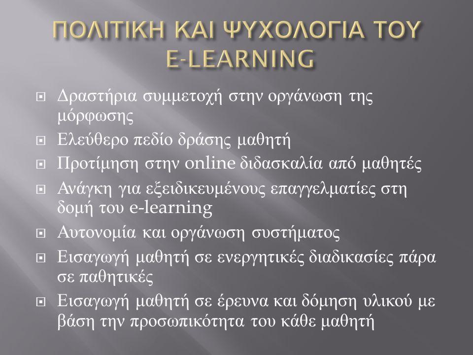 ΠΟΛΙΤΙΚΗ ΚΑΙ ΨΥΧΟΛΟΓΙΑ ΤΟΥ E-LEARNING
