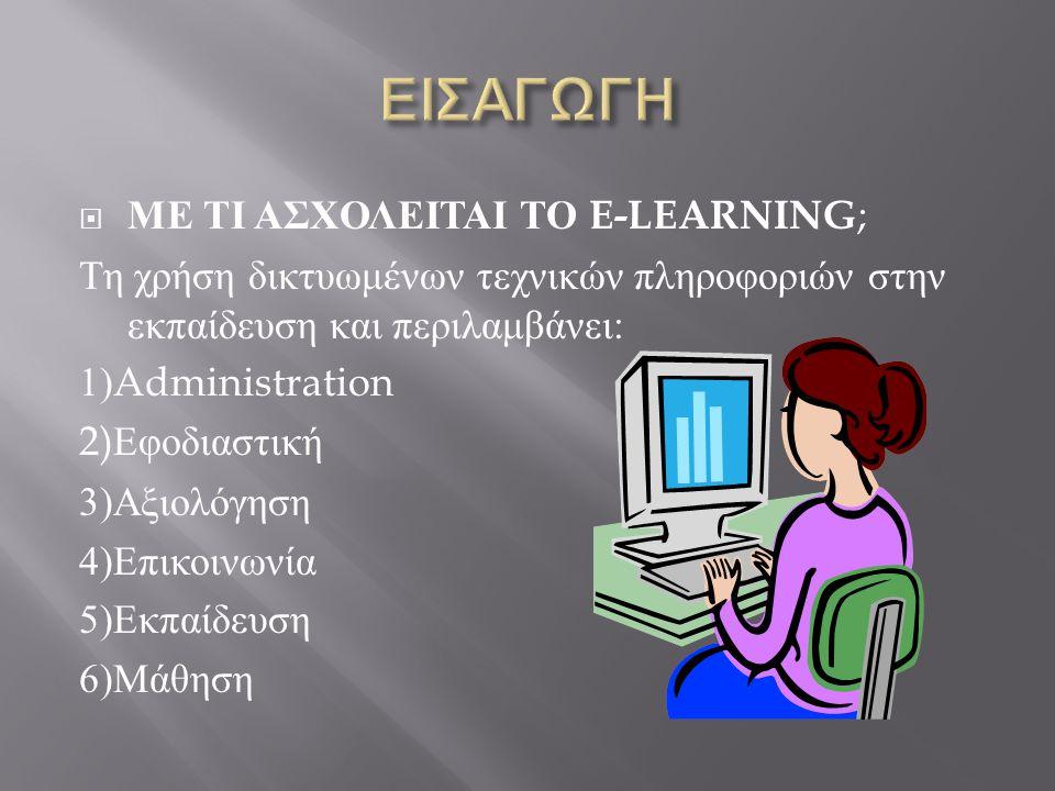 ΕΙΣΑΓΩΓΗ ΜΕ ΤΙ ΑΣΧΟΛΕΙΤΑΙ ΤΟ E-LEARNING;