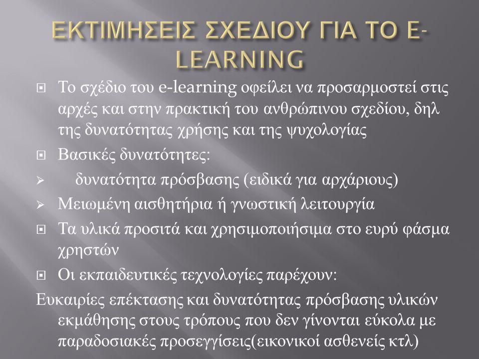 ΕΚΤΙΜΗΣΕΙΣ ΣΧΕΔΙΟΥ ΓΙΑ ΤΟ E-LEARNING