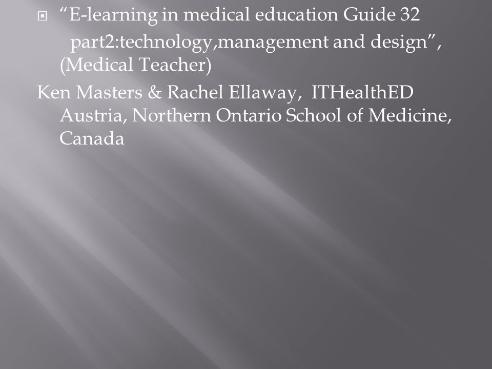 E-learning in medical education Guide 32