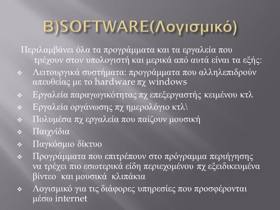 Β)SOFTWARE(Λογισμικό)