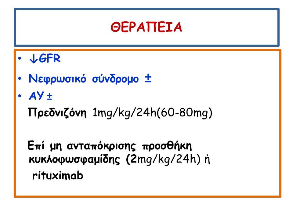 ΘΕΡΑΠΕΙΑ ↓GFR Νεφρωσικό σύνδρομο ± ΑΥ ± Πρεδνιζόνη 1mg/kg/24h(60-80mg)