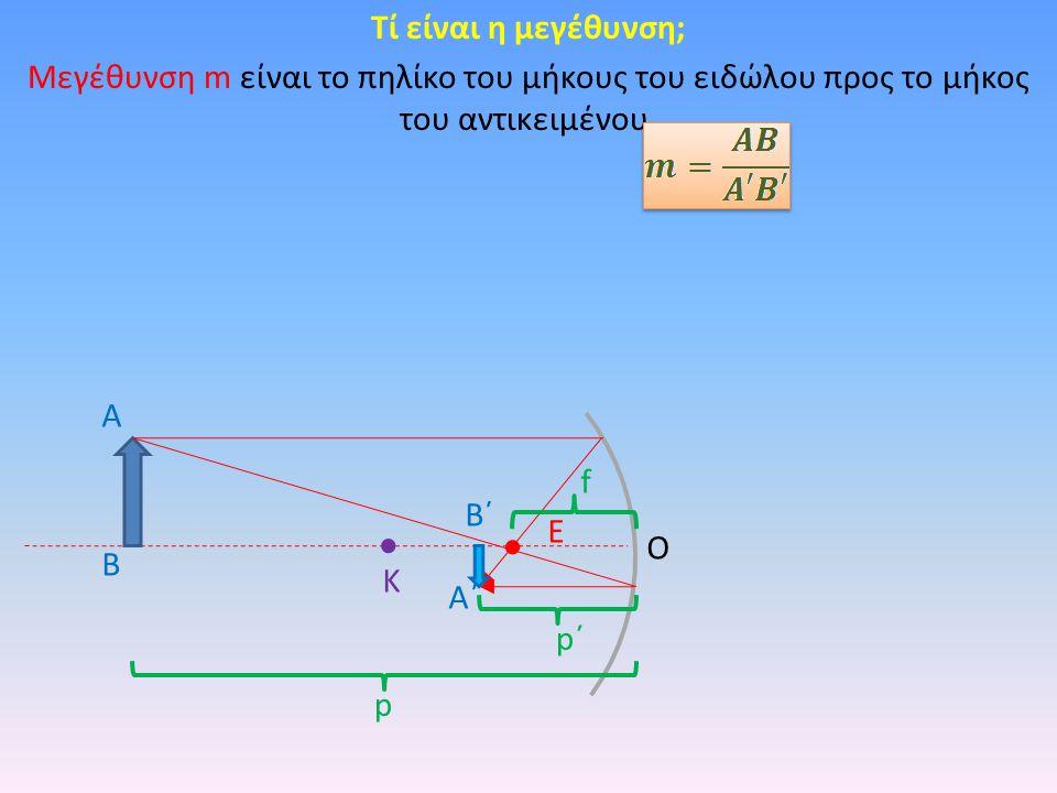 Τί είναι η μεγέθυνση; Μεγέθυνση m είναι το πηλίκο του μήκους του ειδώλου προς το μήκος του αντικειμένου.