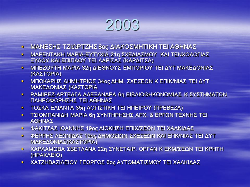 2003 ΜΑΝΕΣΗΣ ΤΖΙΩΡΤΖΗΣ 8ος ΔΙΑΚΟΣΜΗΤΙΚΗ ΤΕΙ ΑΘΗΝΑΣ