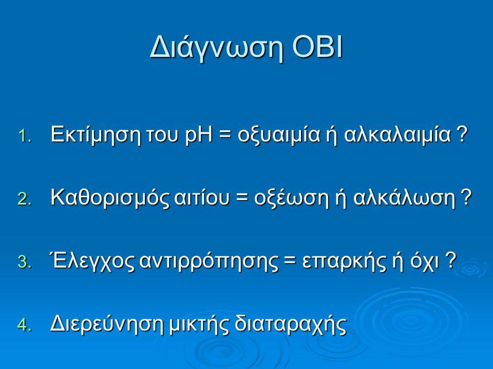 Διάγνωση ΟΒΙ Εκτίμηση του pH = οξυαιμία ή αλκαλαιμία