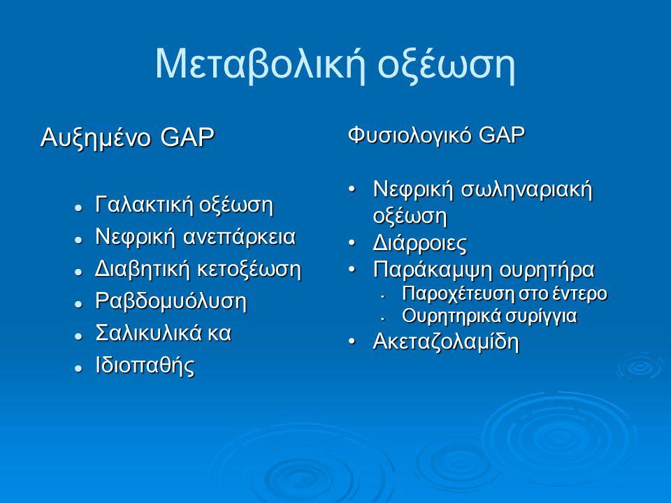 Μεταβολική οξέωση Αυξημένο GAP Φυσιολογικό GAP