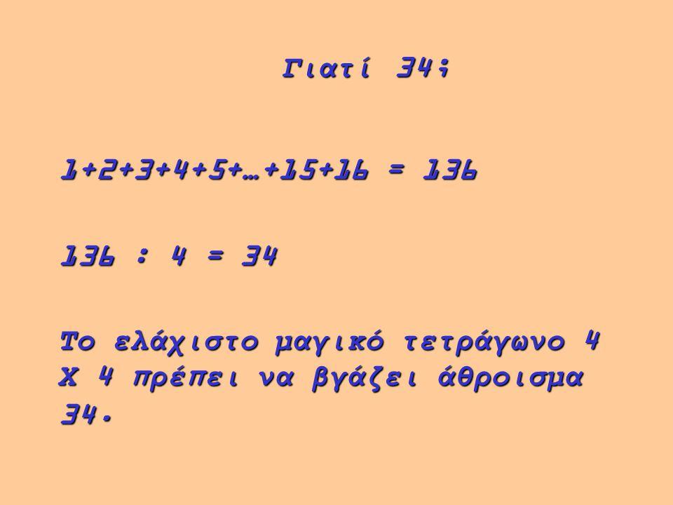 Γιατί 34; 1+2+3+4+5+…+15+16 = 136. 136 : 4 = 34.
