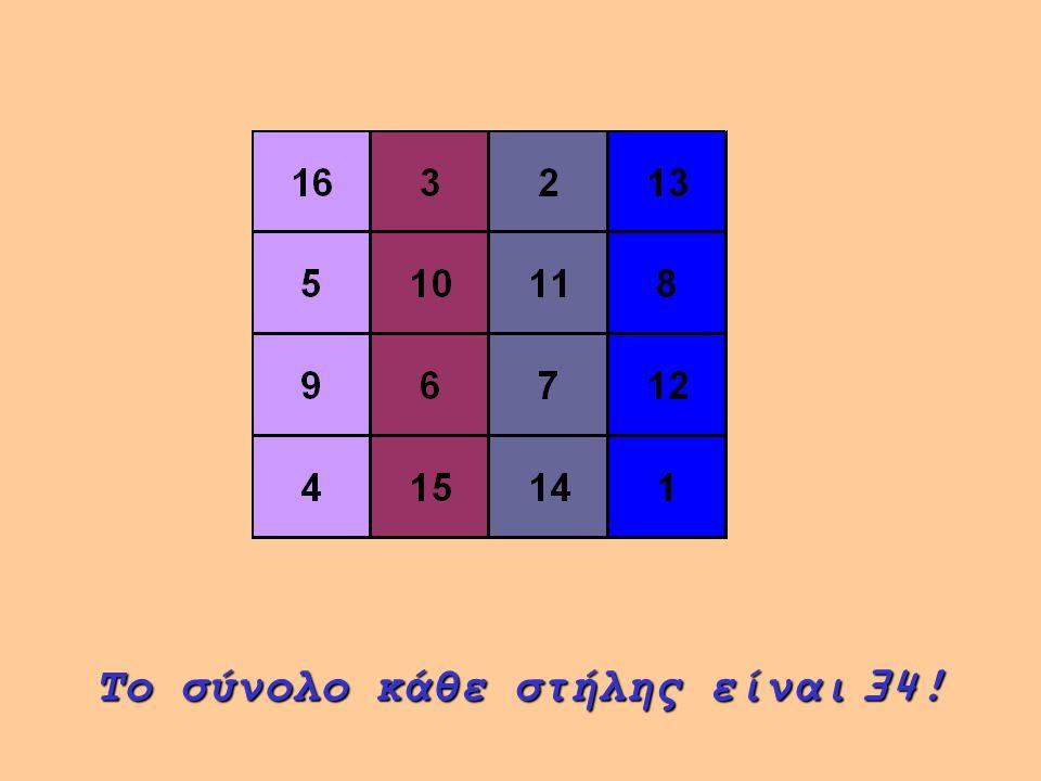 Το σύνολο κάθε στήλης είναι 34!