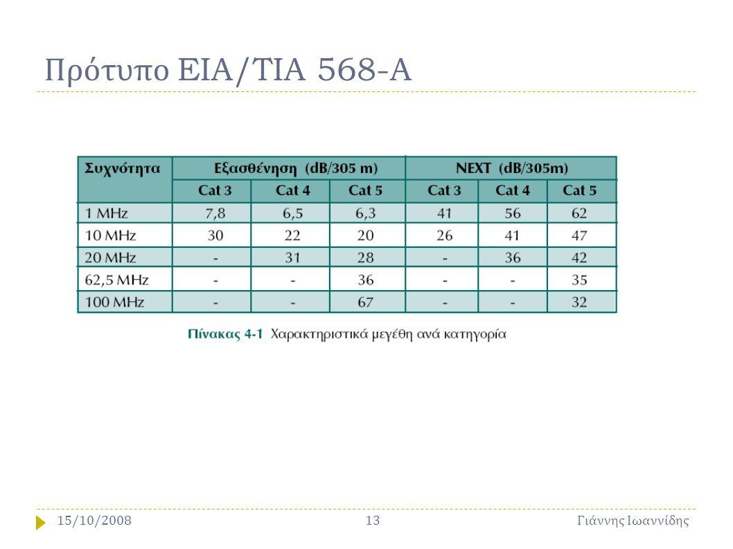 Πρότυπο EIA/TIA 568-A 15/10/2008 Γιάννης Ιωαννίδης