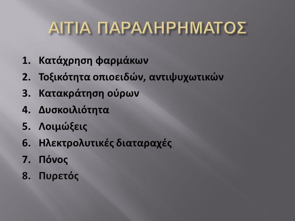 ΑΙΤΙΑ ΠΑΡΑΛΗΡΗΜΑΤΟΣ