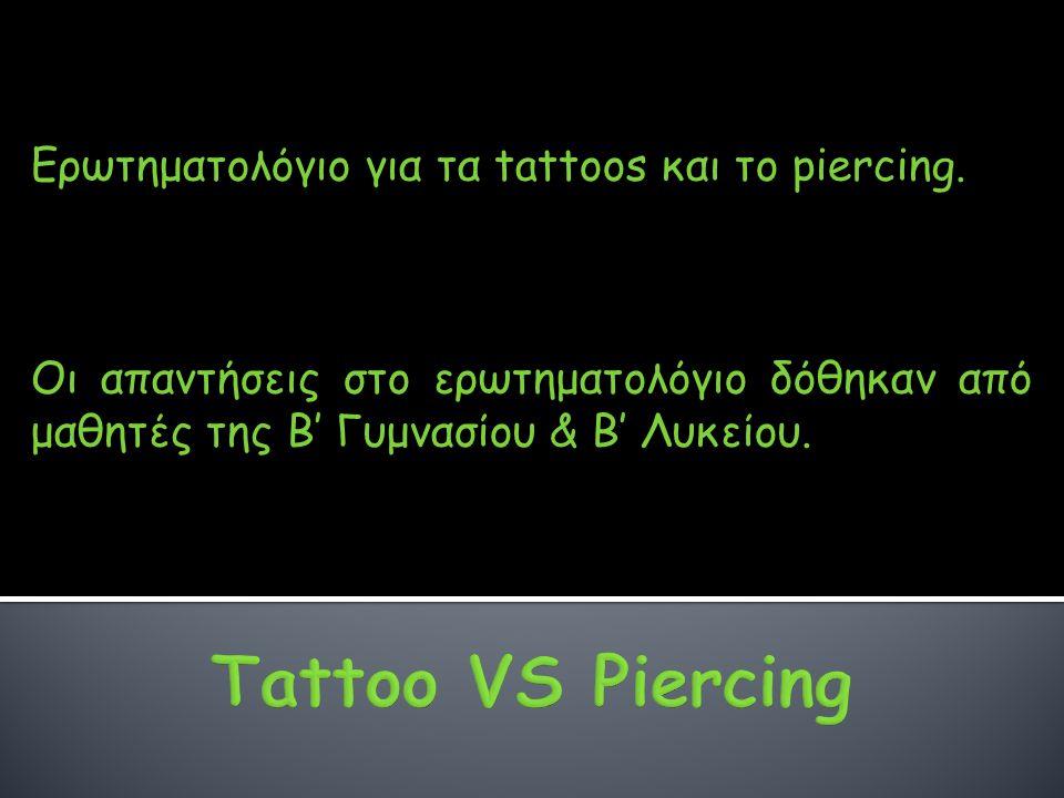 Tattoo VS Piercing Ερωτηματολόγιο για τα tattoos και το piercing.