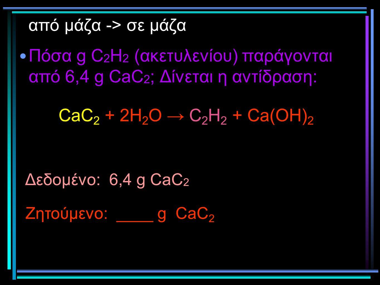 από μάζα -> σε μάζα Πόσα g C2H2 (ακετυλενίου) παράγονται από 6,4 g CaC2; Δίνεται η αντίδραση: CaC2 + 2H2O → C2H2 + Ca(OH)2.